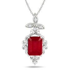 <strong>Szul Jewelry</strong> Sterling Silver Emerald Cut Ruby Estate Styled Pendant
