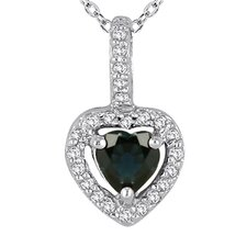 10K White Gold Heart Cut Sapphire Heart Pendant