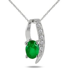 Sterling Silver Oval Cut Gemstone Loop Pendant