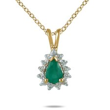 <strong>Szul Jewelry</strong> 14K Yellow Gold Pear Cut Emerald Tear Drop Pendant