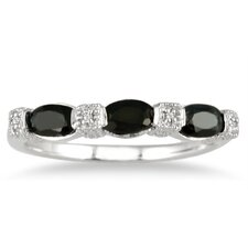 Sterling Silver Oval Cut Gemstone Band