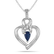 10K Golf Pear Cut Gemstone Heart Pendant