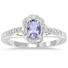 10K White Gold Oval Cut Tanzanite Ring