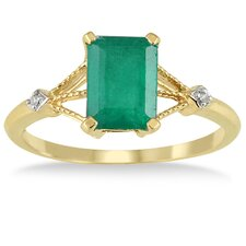 10K Yellow Gold Emerald Cut Emerald Ring