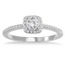<strong>Szul Jewelry</strong> 10K White Gold Round Cut Diamond Engagement Ring