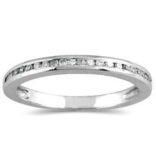 <strong>Szul Jewelry</strong> 10K White Gold Round Cut Channel Set Diamond Wedding Band