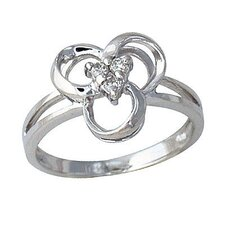 10K White Gold Round Cut Diamond Swirl Ring