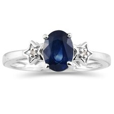 <strong>Szul Jewelry</strong> 10K White Gold Oval Cut Sapphire Ring