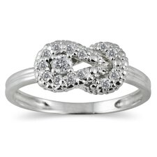 <strong>Szul Jewelry</strong> 10K White Gold Round Cut Diamond Knot Ring