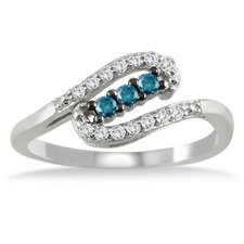 <strong>Szul Jewelry</strong> 10K White Gold Round Cut Diamond Ring