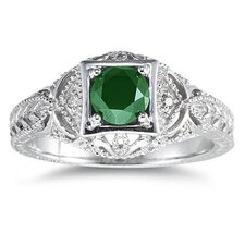14K White Gold Round Cut Gemstone Ring