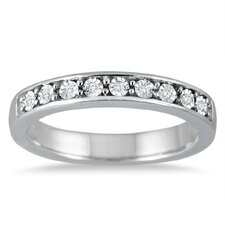 Sterling Silver Round Cut Diamond Band