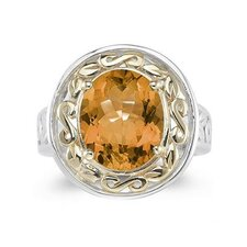 14K Two-Tone Oval Cut Gemstone Ring