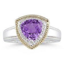 14K Two-Tone Trillion Cut Gemstone Ring
