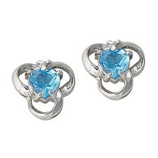 Heart Cut Topaz Stud Earrings