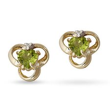 Heart Cut Peridot Stud Earrings