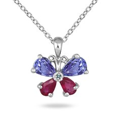 14K White Gold Pear Cut Tanzanite Butterfly Pendant