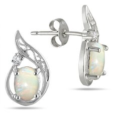 Oval Cut Opal Stud Earrings
