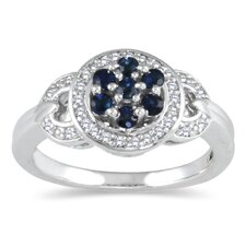 <strong>Szul Jewelry</strong> Sterling Silver Round Cut Sapphire Lucy Ring