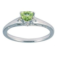 14K White Gold Trillion Cut Peridot Antique Ring