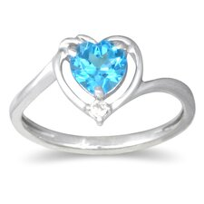 10K White Gold Heart Cut Topaz Ring