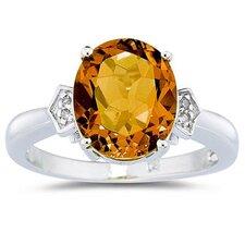 10K White Gold Oval Cut Gemstone Ring