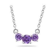 14K Round Cut Gemstone Pendant Necklace