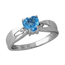 14K White Gold Heart Cut Topaz Ring