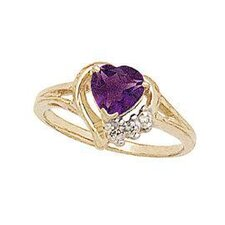 10K Yellow Gold Heart Cut Gemstone Ring