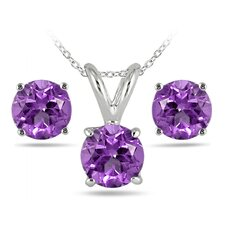 <strong>Szul Jewelry</strong> Sterling Silver Round Cut Gemstone Jewelry Set
