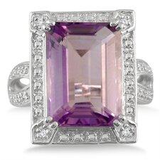 Sterling Silver Emerald Cut Amethyst Ring