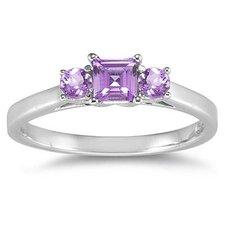 14K White Gold Princess Cut Gemstone Ring