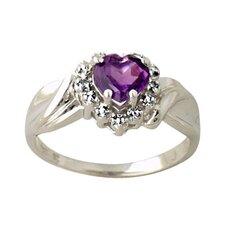 10K White Gold Heart Cut Gemstone Ring