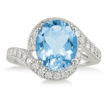 <strong>Szul Jewelry</strong> 10K White Gold Oval Cut Topaz Ring