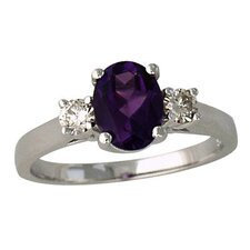 14K White Gold Oval Cut Gemstone Ring