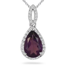 <strong>Szul Jewelry</strong> 14K White Gold Pear Cut Gemstone Pendant