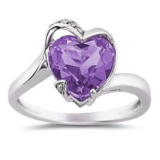 14K White Gold Heart Cut Gemstone Curve Ring