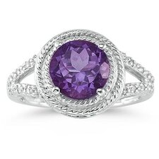 10K White Gold Round Cut Gemstone Ring