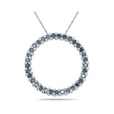 10K White Gold Round Cut Diamond Circle Pendant