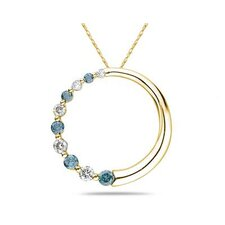 14K Yellow Gold Round Cut Diamond Circle Journey Pendant