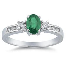 14K White Gold Oval Cut Gemstone Regal Ring