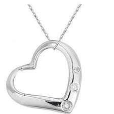 Sterling Silver Round Cut Diamond Heart Pendant