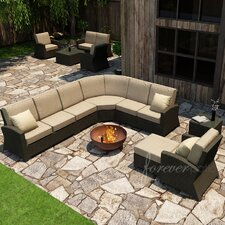 Barbados 7 Piece Sectional Deep Seating Group with Cushion