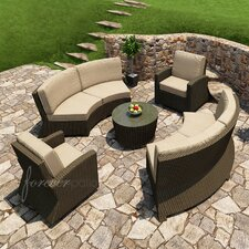 Barbados 5 Piece Sectional Deep Seating Group with Cushion