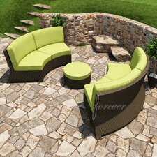 <strong>Forever Patio</strong> Barbados 3 Piece Sectional Deep Seating Group with Cushion