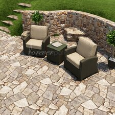 Barbados 3 Piece Chat Deep Seating Group with Cushion