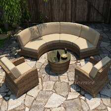Cypress 5 Piece Sectional Deep Seating Group with Cushion