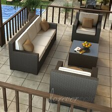<strong>Forever Patio</strong> Hampton 4 Piece Deep Seating Group with Cushion