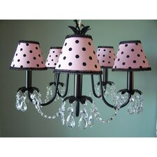 Light Pink and Black 5 Light Chandelier
