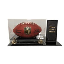 Super Bowl 48 Deluxe Football Display with Ticket Holder